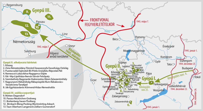 A Szálasi-kormány kitelepülései. Forrás: Nullaév