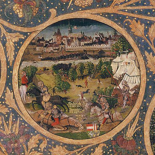 """Magyarok és bajorok a 13. században – II. rész. II. (Harcias) Frigyes halála a Lajta menti csatában Babenberger-Stammbaum, Klosterneuburg, 1490k. (A kép forrása: <a href=""""https://hu.wikipedia.org/wiki/II._Frigyes_osztr%C3%A1k_herceg#/media/F%C3%A1jl:Herzog_Friedrich_II._Babenberg.jpg"""">Wikipédia</a>)"""