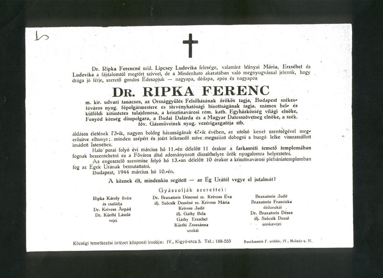 Ripka Ferenc gyászjelentése. Országos Széchényi Könyvtár Kisnyomtatványtár.