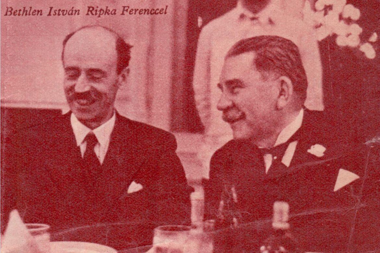 Bethlen István és Ripka Ferenc. Forrás: Pesti Napló Képes Melléklet, 1936. október 18. Fotóriport a Budai Társaskör Ripka-vacsorájáról.