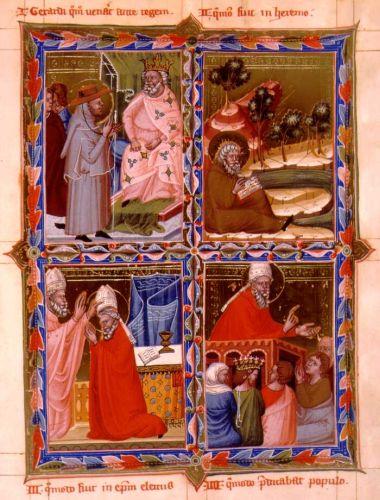 Szent Gellért legendájának részletei a Magyar Anjou-legendárium lapján. 1) Szent Gellért Szent István király előtt. 2) A remeteségben. 3) Püspökké választása. 4) Prédikál a népnek. Forrás: Wikipedia